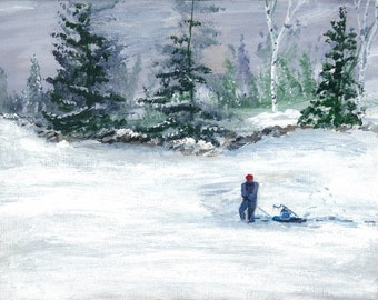 print of my acrylic painting, Ice fisherman looking for the right spot.