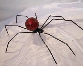 Metal welded spider sculpture, metal spider art sculpture