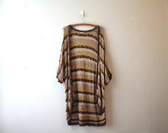 Ecote Long Knit Short Sleeves Cardigan Bohemian Stripes