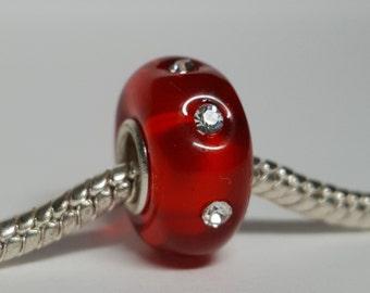 Red Rhinestones Glass Bead for European Bracelets (item B184)