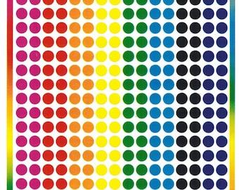 "Small Assorted 1/8"" colored dots E-109"