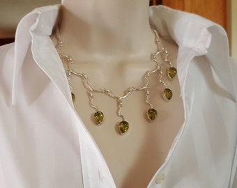 Peridot Necklace set in .925 Sterling Silver