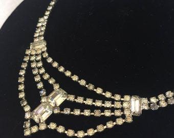 Kramer Rhinestone Necklace, Vintage Kramer Necklace, Vintage Bridal Necklace, Vintage Bride Necklace, Rhinestone Bride