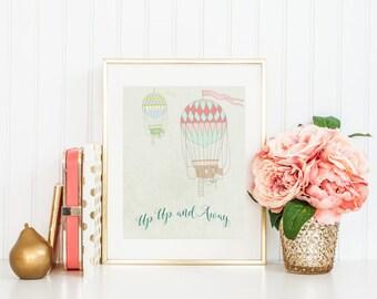 Up Up And Away Vintage Hot Air Balloon Nursery Art - Digital Art Wall Print-Mint Green -Kids room Decoration-Children Poster-Newborn Art