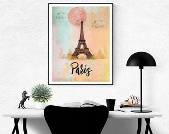 Paris Print, Paris wall Art, Eiffel Tower Print, Paris Art Print, Eiffel Tower Art, Paris Poster, Paris Decor, Eiffel Tower Poster, Vintage