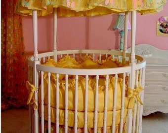 Round Solid Wood Baby Crib with Canopy, bedding, canopy cover, bumper, sheets, coverlet, blanket, ties, bows, finials, custom, crackle