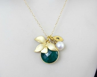 Emerald Necklace, Orchid Necklace, Birthstone Necklace, Initial Necklace, Personalized Necklace, Statement Necklace, Monogram Necklace, Gold