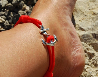 Womens Anchor Anklet - Pick your Colour Rope Bracelet for Ankle - Anchor Paracord Anklet - Single Wrap Anklet - Anchor Paracord