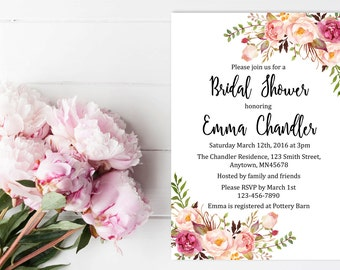 Printable Boho Floral Bridal Shower Invitation, Floral Boho Bridal Shower Invite, Peonies Boho Bridal Shower Invite, Download, 110-W