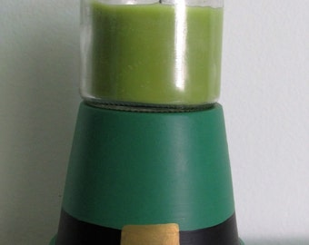 Hand-painted Clay Pot Leprechaun Hat Candleholder