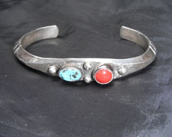 "Sterling Silver Turquoise and Coral Cuff 22.5 Grams 1.25"" Opening"