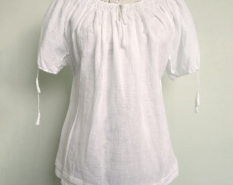 Handmade cotton blouse (short sleeves)
