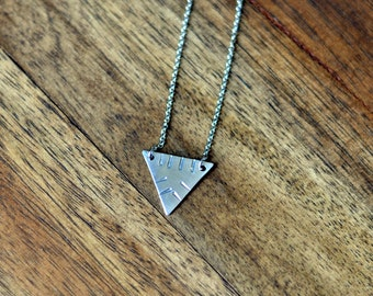 Aztec Designs Triangle Necklace, Hand Stamped Jewelry, Aztec Jewelry, Layering Necklace, Pyramid Necklace, Boho Chic, Tribal Jewelry