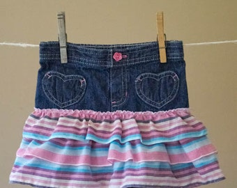Tiered Skirt with Denim Capris