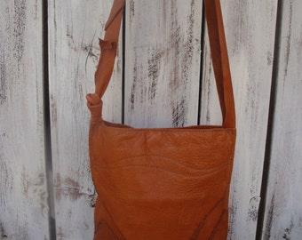 Rustic Bohemian Caramel Brown Leather Crossbody Messenger Festival Shoulder Purse Ready To Ship Zazu Bagz