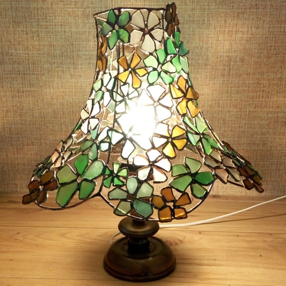 sea glass stained glass table lamp flowers ooak boho gift home decor. Black Bedroom Furniture Sets. Home Design Ideas