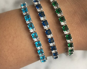 REGAL  Green Blue Turquoise Crystal Tennis Bracelet