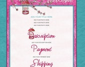 WHIMSY BIRDCAGE eBay Listing Auction Template Floral Pink Cage Scropbook girly Blue 100% HTML code Instant Download