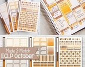 OCTOBER Planner Sticker Kit, Made 2 Match Erin Condren Life Planner, ECLP Stickers Mocha/Tangerine - 3 Sheets, 174 Stickers!