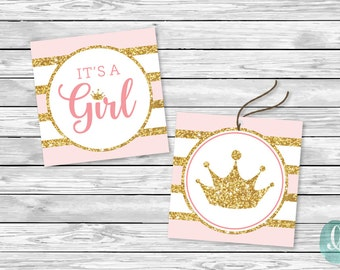 Printable Tag Its A Girl Baby Shower Decor Birthday Party Glitter Princess Little Girl Printable Sticker Cupcake Topper Tag Instant Download