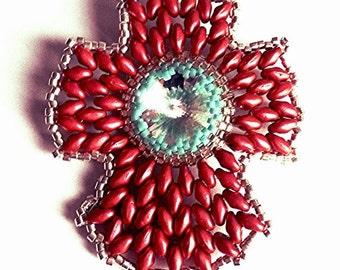 Cross pendant with SWAROVSKI Rivoli 18 mm