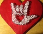 ASL I love You Nail and String Art
