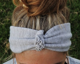 Wide Ruffle Head Band; Gathered Turban; Gathered Centre Ruffle Head Warmer; Unique Knit Winter Headband