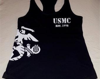SMALL Ladies USMC Marine Corps EGA (Eagle, Globe & Anchor) Workout Racerback Tank Top
