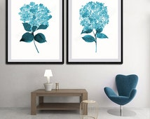 Hydrangeas Watercolor Art Prints - Set of 2 Blue Hydrangeas Floral Art - Wall Decor Gift Idea for Anniversary, Birthday or Housewarming