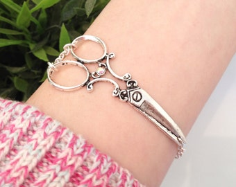 Scissor Bracelet, Hairdresser Jewelry, Hair Stylist Gift For Her, Cute Shear Charm, Seamstress Jewelry, Victorian Jewelry, Antique Silver