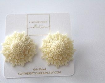 Large Resin Cream Chrysanthemum Stud Earrings Gold Plated
