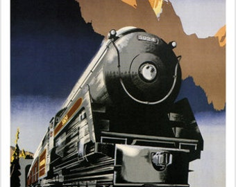Travel Across Canada Vintage 1947 Train Travel Poster P. Ewart Canada 24x36