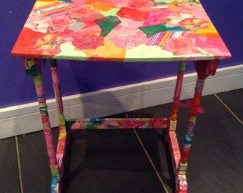 Rose Garden Decoupaged Occasional Table