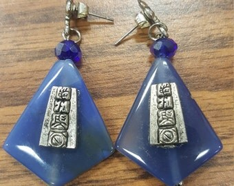 Blue Abalone Shell  with Mayan Pewter Glyph