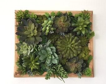 Succulent Arrangement Artificial Succulent Vertical Wall Garden on Rustic Distressed Wood Frame Home Decor