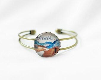 Breathe Bracelet - Positive Energy - Word Bracelet - Personalized - Message Jewelry - Healing Jewelry - Intention Bracelet - Meditation