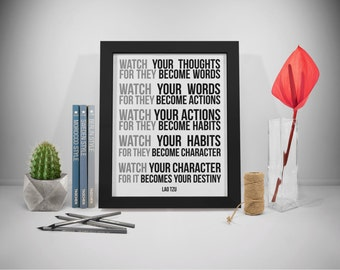 Watch Your Thoughts Lao Tzu Quotes Prints, Lao Ce Quotes Printable, Taoism Sayings, Office Decor, Office Art, Office Wall Art