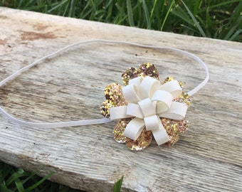 Faux Leather Flower Headband - Pleather Bow - Baby girl Headband - Gold and White