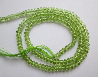 Peridot Rondelle faceted beads, 3.5-4 mm Peridot Rondelle beads, Peridot faceted beads, 14 inches, Beading supplies, Green Peridot beads