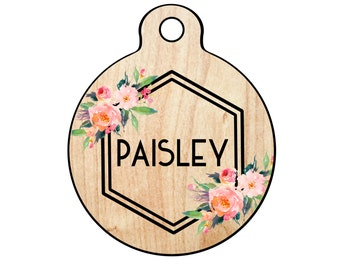 Floral and Wood Dog Tag for Dogs, Faux Wood Pet Id Tag, Floral Dog Tag, Wood and Floral Cat Tag, Floral Dog Tag, Floral and Wood Pet Id Tag