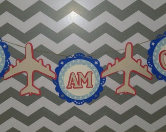 Airplane 1st Birthday Banner, Air Plane Birthday Party, Baby shower, Red White and blue,