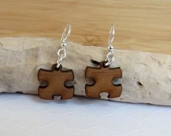 Wood Puzzle Piece Earrings, Friendship Earrings, Walnut Earrings, Handmade Earrings, Whimsical Earrings, Wood Earrings, Wooden Jewelry