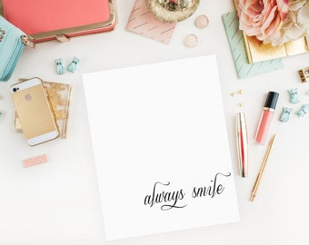 Always Smile Printable, Digital Download, Instant Download, Typographic Print, Home Decor, Inspirational Quote, Wall Art, Poster Art