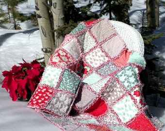 "WINTERBERRY RAG Quilt KIT - 40 Precut Pre-Fringed 10"" Squares / Blocks  - Moda Fabric + Pattern"