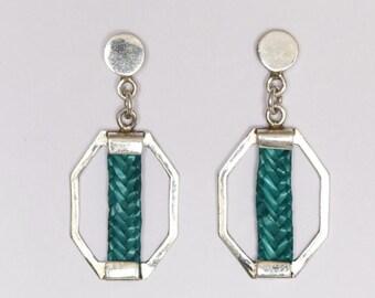 Geometric silver earrings esmerld, red