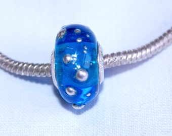 Lampwork - European charm bead - transparent glass and silver  - SRA