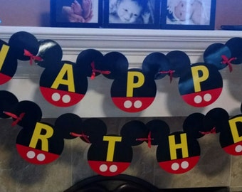 Happy Birthday Banner Mickey Mouse heads
