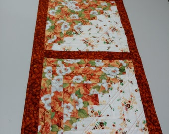 Quilted Table Runner; Off White Burnt Orange Table Runner; Log Cabin Table  Runner