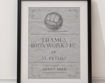 West Ham United  'First Game' vintage style poster