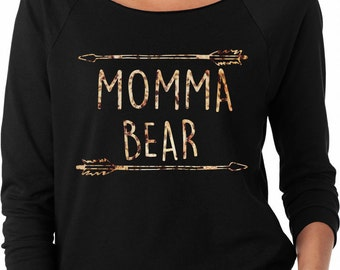 Momma Bear Arrows Ladies Off the Shoulder Terry Raglan